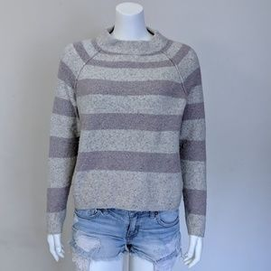 Free People purple grey stripe wool sweater